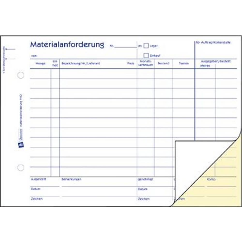 avery zweckform 1110 a5 material request form pad 2 x 50 sheets