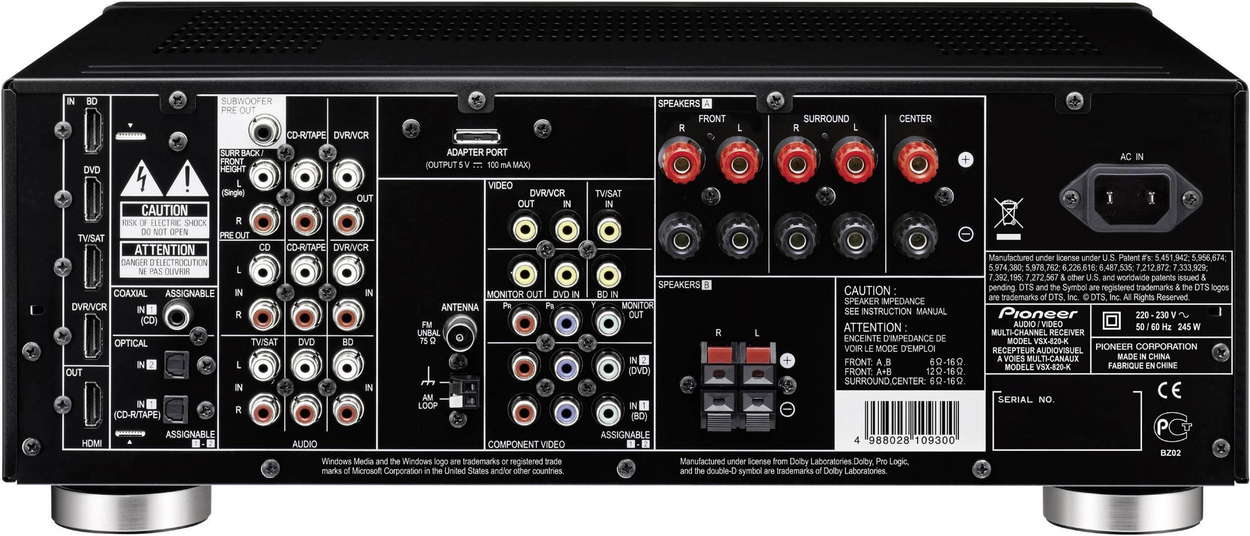 pioneer vsx 820 k manual online user manual u2022 rh gooduserguide today Pioneer VSX 1122 K Pioneer VSX D511 Receiver
