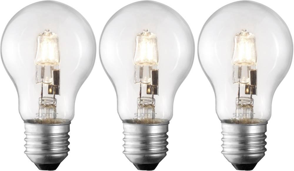 Eco halogenska žarnica Sygonix E27, 42 W = 60 W, topla bela, hruškasta, 3 kosi 28987A