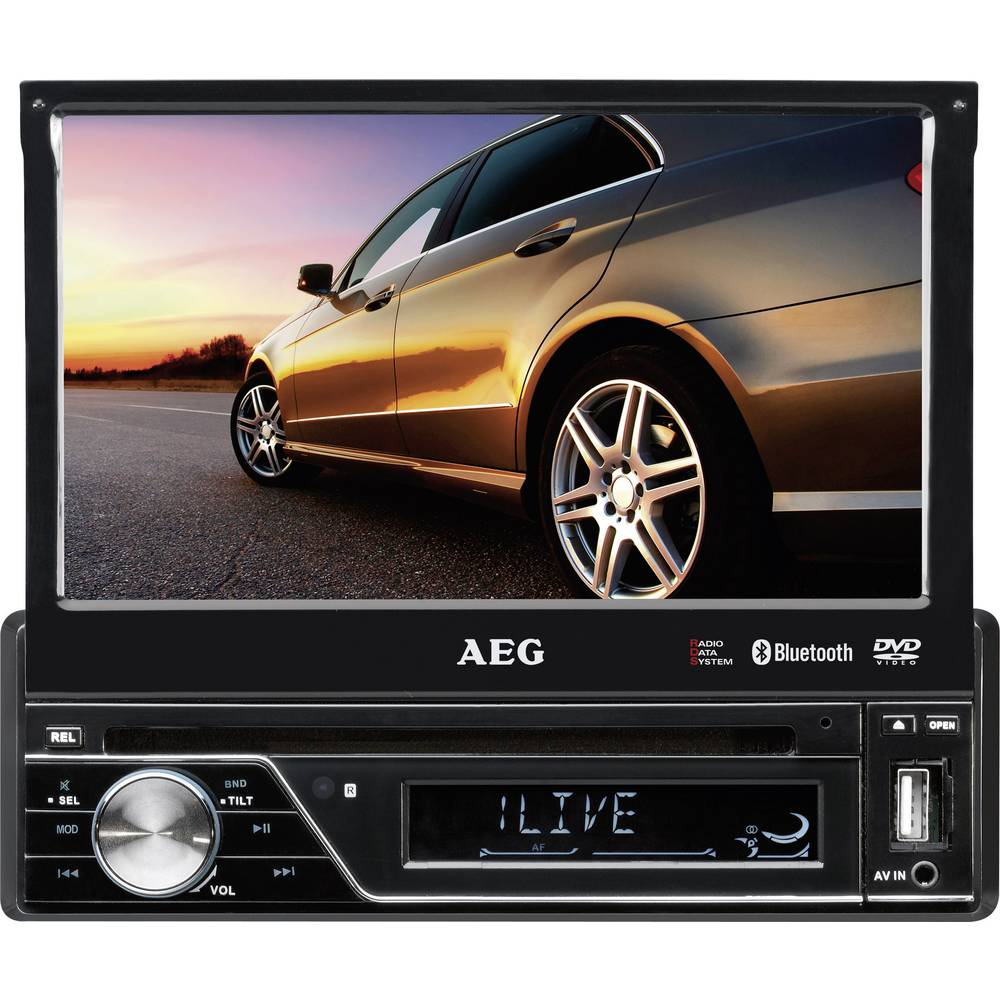 Moniceiver AEG AR4026DVD inkl. fjernbetjening, Tilslutning til bagkamera, Håndfrit Bluetooth®-system