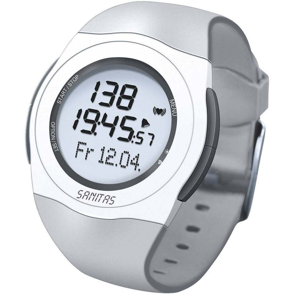 Sanitas Spm 25 Heart Rate Monitor Watch With Chest Strap Grey White Photo Of A Showing And