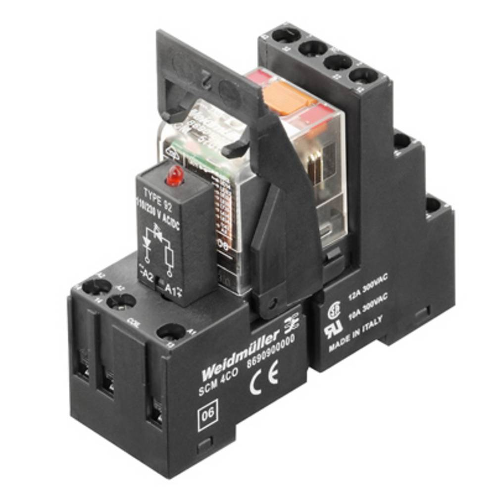Relækomponent 10 stk Weidmüller RCMKIT 115VAC 4CO LEDRT Nominel spænding: 115 V/AC Brydestrøm (max.): 6 A 4 x omskifter