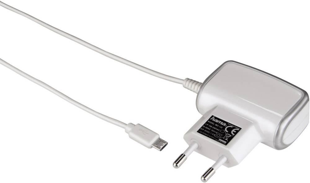 USB-oplader Hama 108165 108165 Stikdåse Udgangsstrøm max. 1000 mA 1 x Mikro-USB