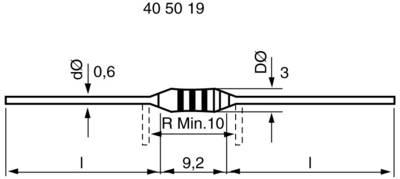 Carbon film resistor 1 kΩ Axial lead 0411 0.5 W 5 % 1 pc(s)