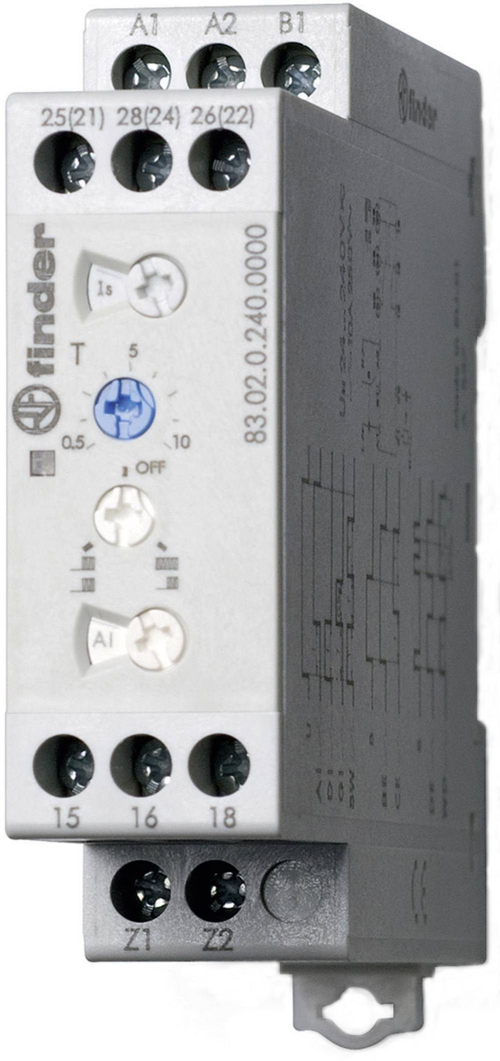 Multifunkcijski industrijski časovni rele 83.02.0.240.0000 Finder 24 - 240 V DC/AC 2 izmenjevalnik 10 A maks. 400 V/AC