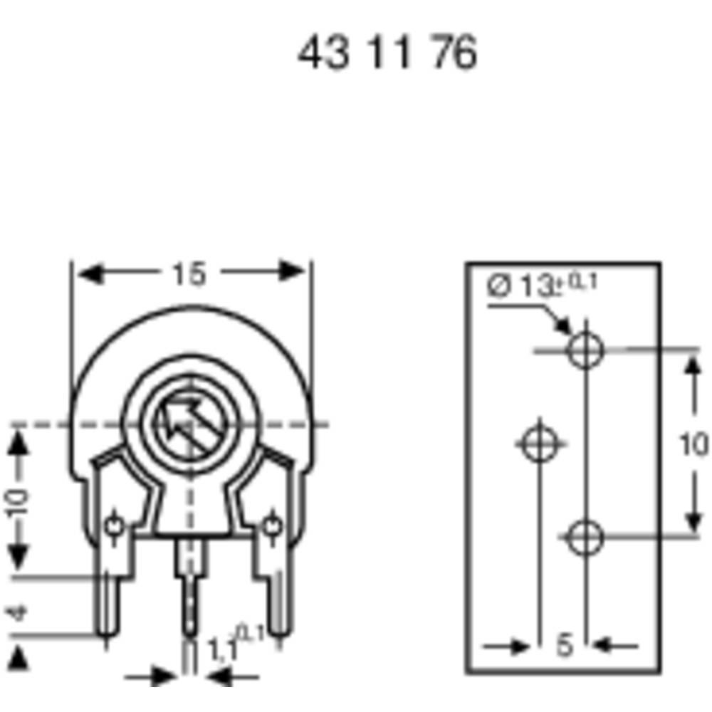 Piher Pt 15 Lh 500r Trimming Potentiometer Vertical From Trim Pot Wiring