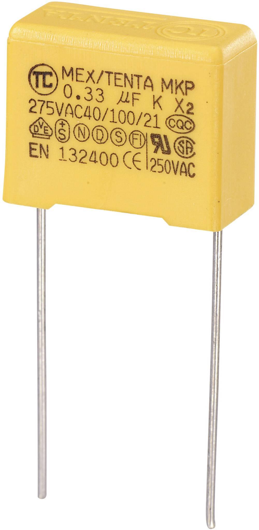 MKP-X2-Radijski kondenzator za uklanjanje smetnji, radijalno ožičen 0.33 µF 275 V/AC 10 % 15 mm (D x Š x V) 18 x 8.5 x 14.
