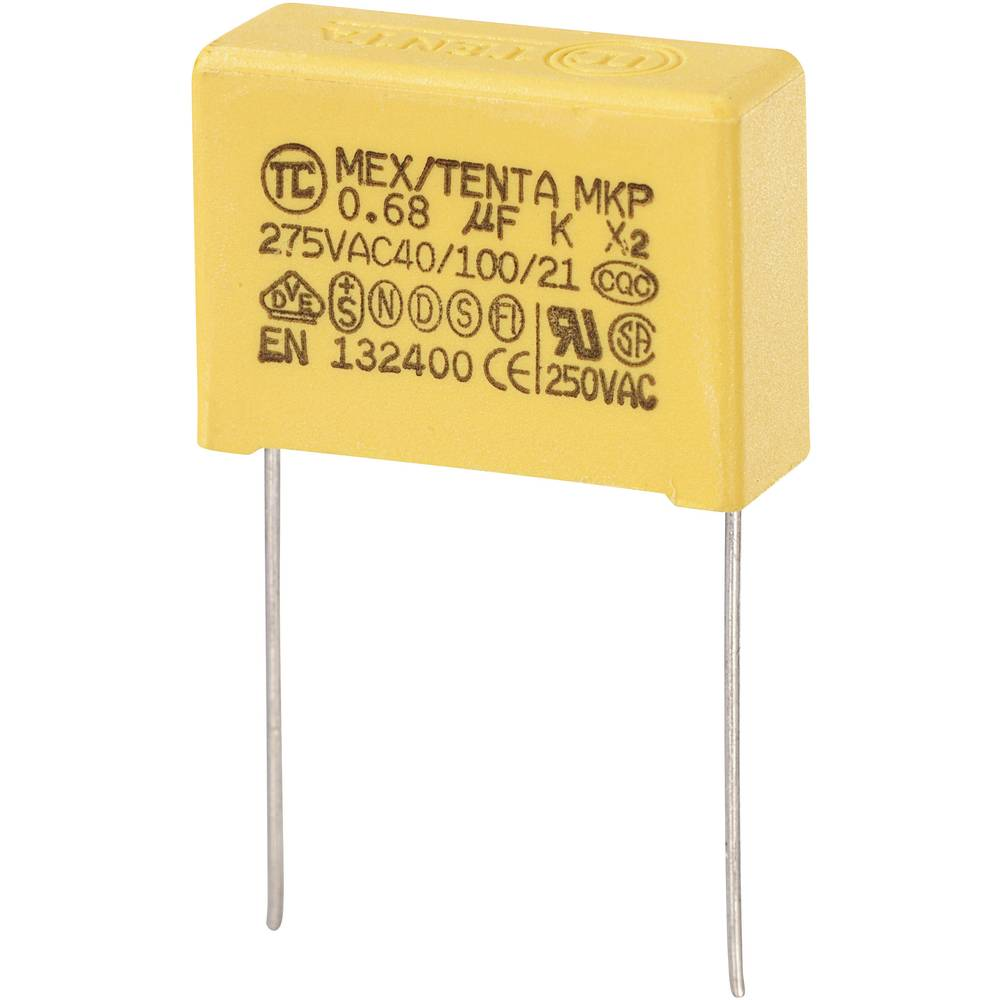 MKP-X2-Radijski kondenzator za uklanjanje smetnji, radijalno ožičen 0.68 µF 275 V/AC 10 % 22.5 mm (D x Š x V) 26.5 x 10 x