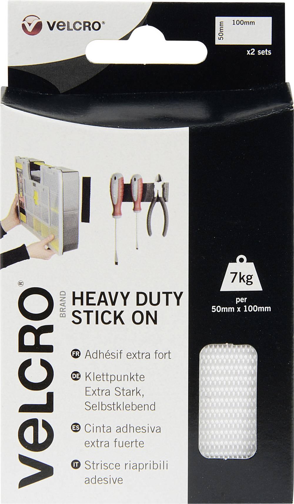 Samoljepljiva traka s čičkom Velcro prianjajući i mekani dio, posebno čvrsta (D x Š) 100 mm x 50 mm bijela VEL-EC60240 2 para