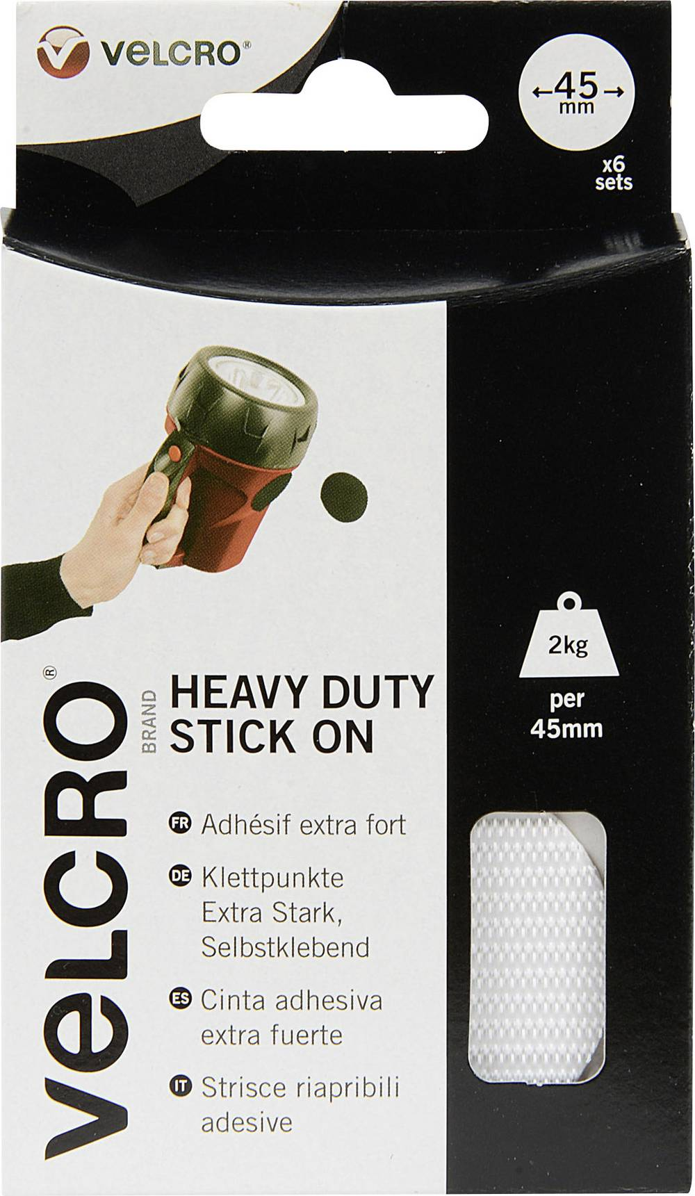 Izjemno močne sprijemalne točke Velcro Stick On VEL-EC60249,premer 45 mm, bele, 12 kosov