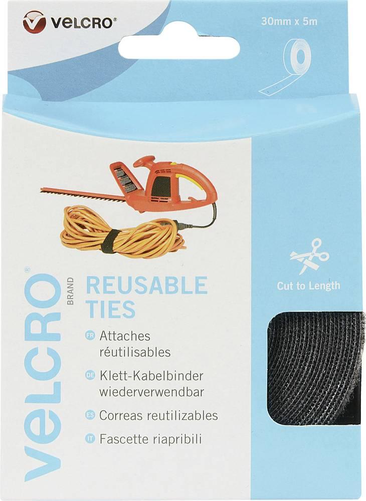 Kabelska vezica s čičkom Velcro prianjajući i mekani dio (D x Š) 5 m x 30 mm crna VEL-EC60254 1 kolut