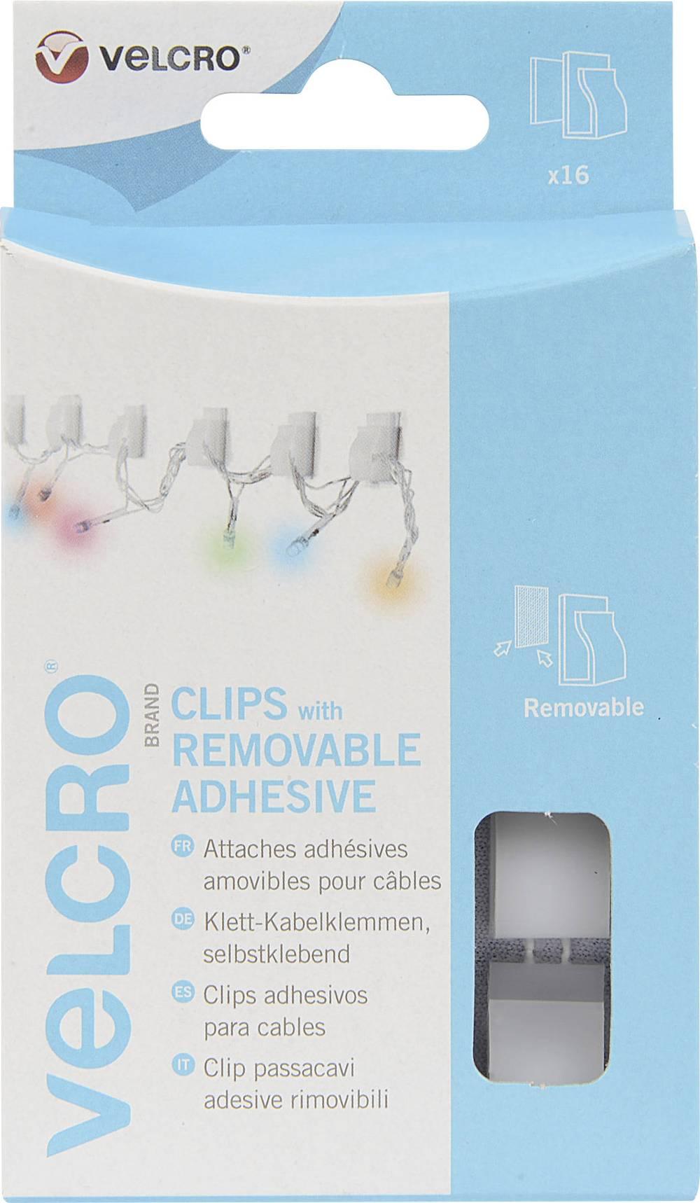 Odstranljive samolepilne sponke za kable Velcro VEL-EC60390,bele barve, 16 kosov