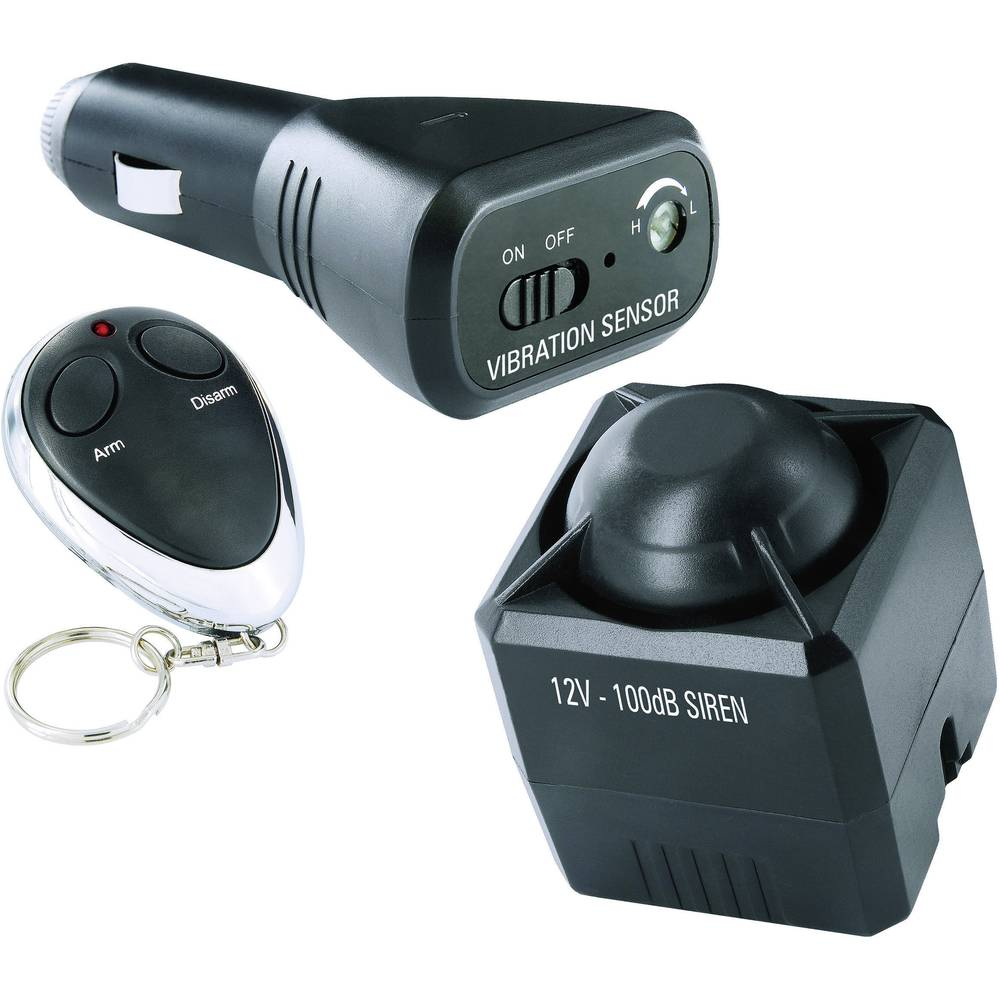 Smartwares Car Alarm Incl Remote Control In Surveillance Vibration Sensor 12