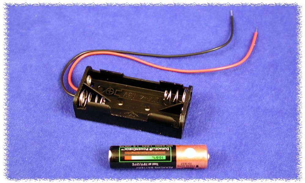 Batteriholder Hammond Electronics BH2AAAW BH2AAAW 2 x AAA Plast Sort 1 stk