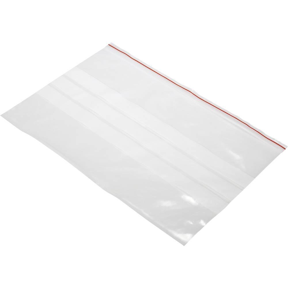 Vrečka s patentnim zapiranjem na pritisk in trakom za označevanje (Š x V) 300 mm x 200 mm prozorna, polietilen