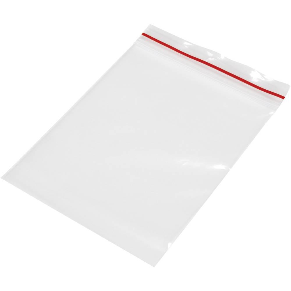 Vrečka s patentnim zapiranjem na pritisk brez traku za označevanje (Š x V) 80 mm x 120 mm prozorna, polietilen