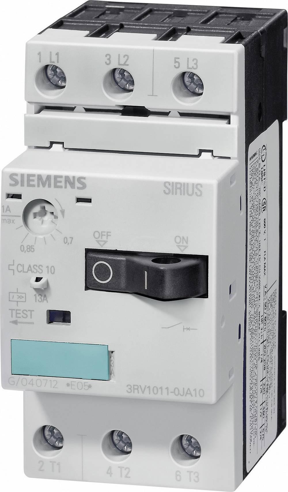 Snažan prekidač 1 kom. Siemens 3RV1011-1KA10 3 zatvarač, postavljanje (struja): 9 - 12 A preklopni napon (maks.): 690 V/AC (Š x