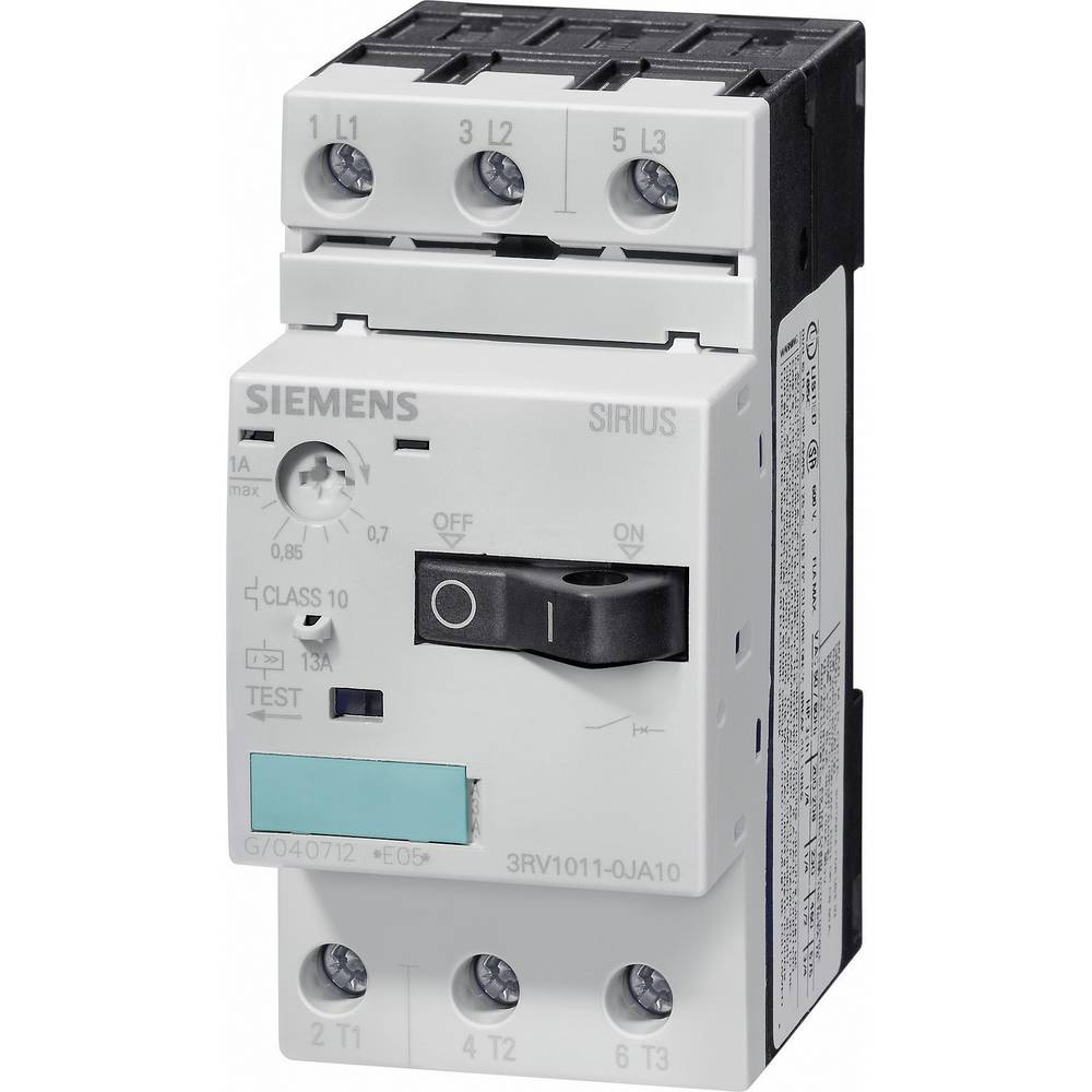 Močnostno stikalo 1 kos Siemens 3RV1011-1HA10 3 zapiralni, nastavitev (tok): 5.5 - 8 A preklopna napetost (maks.): 690 V/AC (Š x