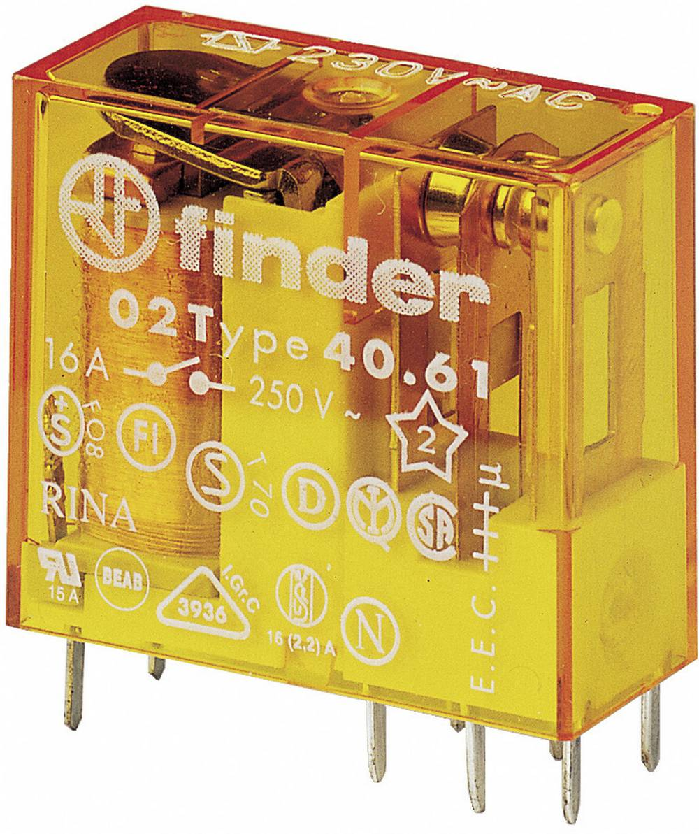 Vtični rele za tiskano vezje Finder 40.61.8.012.0000, 12 V/AC, 16 A, 250 V/AC, 30 V/DC