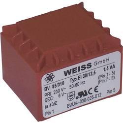 Printtransformator 1 x 230 V 2 x 9 V/AC 1.50 VA 83 mA 85/317 Weiss Elektrotechnik