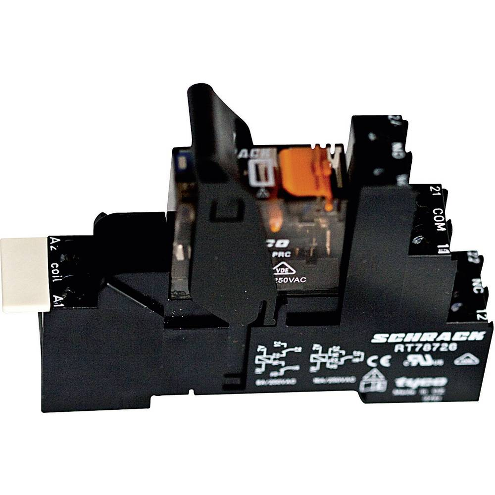 Relækomponent 1 stk TE Connectivity XT4S4R24 Nominel spænding: 24 V/AC Brydestrøm (max.): 8 A 2 x omskifter