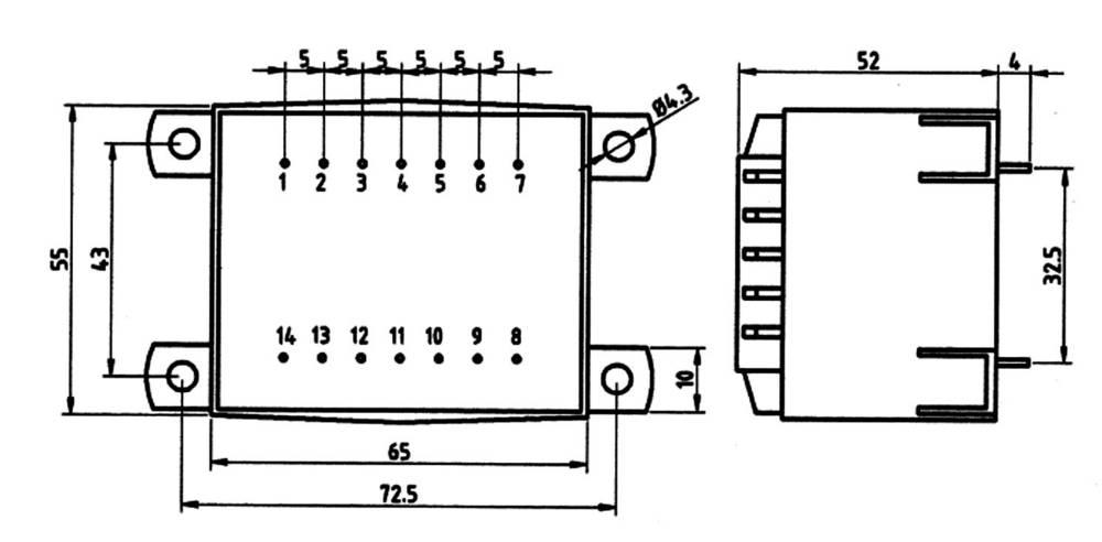 pcb mount transformer 1 x 230 v 1 x 12 v ac 25 va 2083 ma 85  402 weiss elektrotechnik from