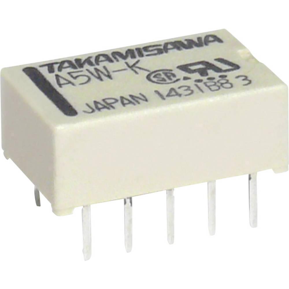 Takamisawa A5WK5V-Subminiaturni pljosnati relej 2x preklopni kontakt, Max. 0.5 A/125 V/AC