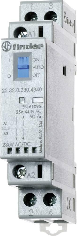 Kontaktor 1 stk 22.32.0.012.4540 Finder 1 x sluttekontakt, 1 x brydekontakt 12 V/DC, 12 V/AC 25 A