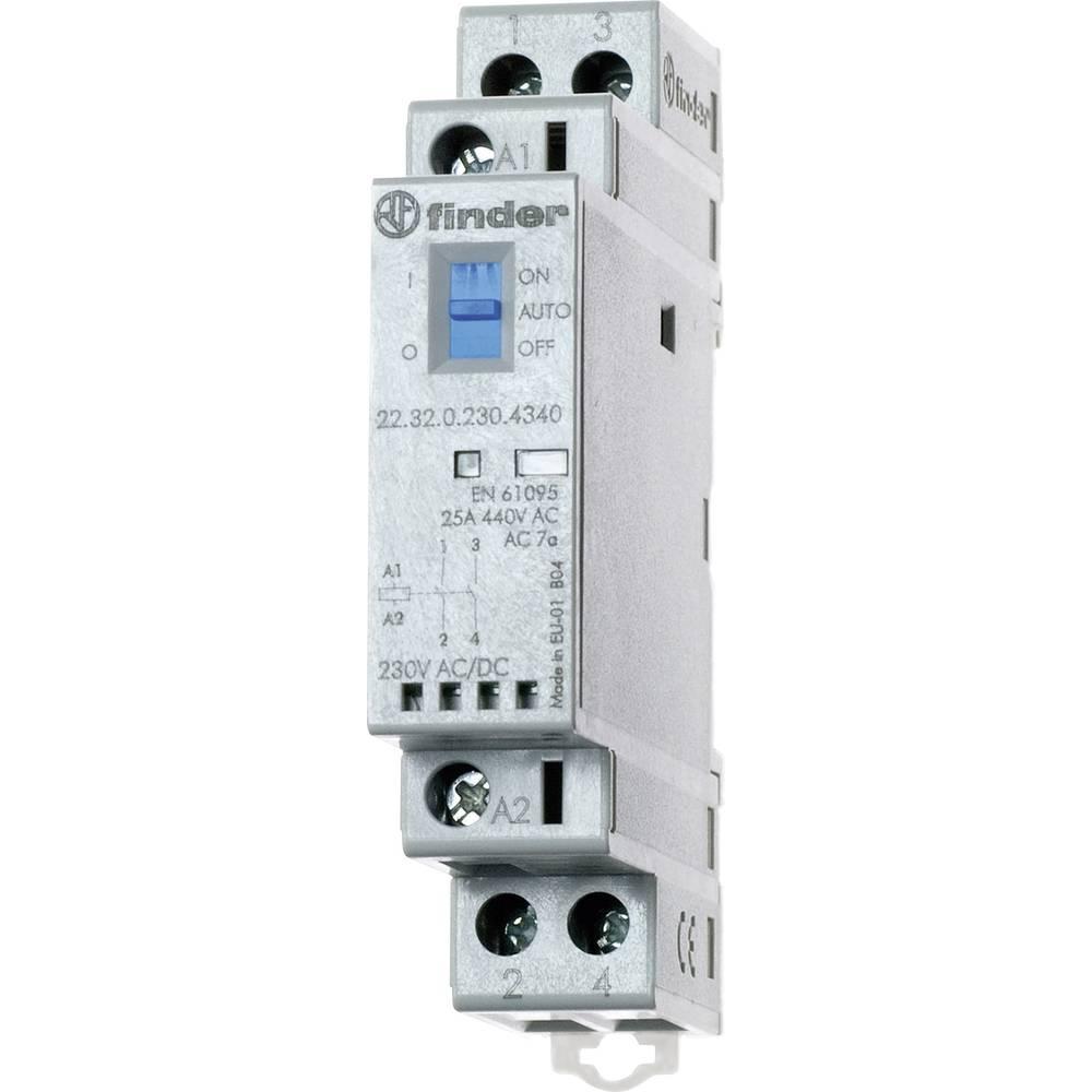 Kontaktor 1 stk 22.32.0.230.4320 Finder 2 x sluttekontakt 230 V/DC, 230 V/AC 25 A