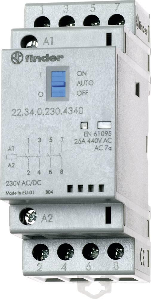 Kontaktor 1 stk 22.34.0.012.4340 Finder 4 x sluttekontakt 12 V/DC, 12 V/AC 25 A