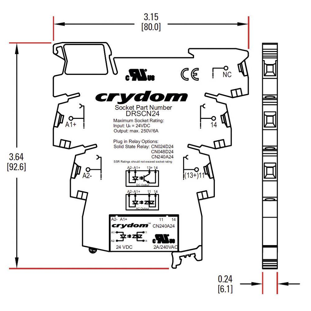 Crydom Dra Cn240a05 Din Rail Mount Electronic Power Relay Solid State Ac Current Load 2 A Switching Voltage 24 280 V