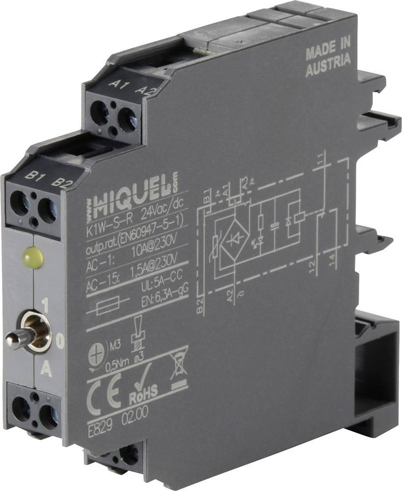 Sklopni rele 12 mm širina Hiquel K1W-S-R 24 Vac/dc 1 izmenjevalnik, H/0/A-stikalo, povratni kontakt (AC-1) 10 A 1 kos