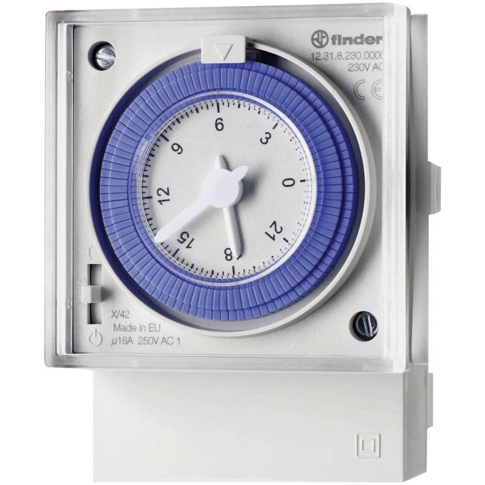 Timer til DINskinne Driftsspænding (num): 230 V/AC Finder 12.31.8.230.0000 1 x skiftekontakt 16 A Dagsprogram