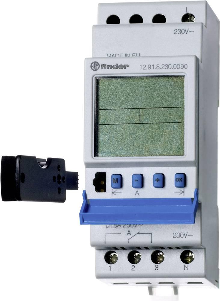 Timer til DINskinne Driftsspænding (num): 230 V/AC Finder 12.91.8.230.0090 1 x skiftekontakt 16 A 250 V/AC Dagsprogram