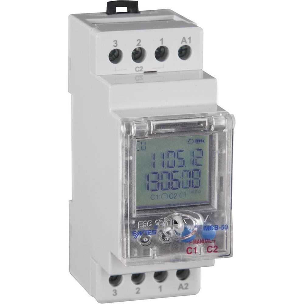 Časovno stikalo Entes MCB-50,190-260 V/AC, 2 x preklopni kontakt, 8 A