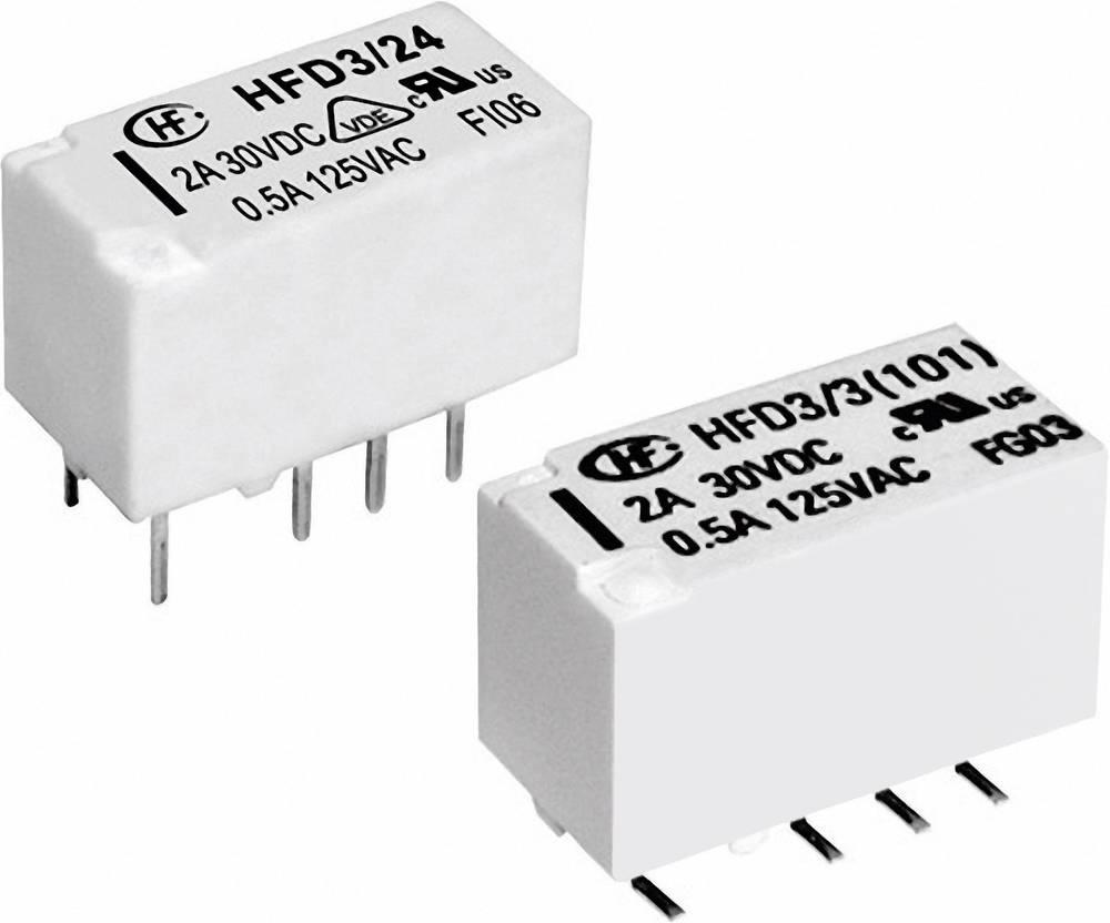 Izjemno majhen signalni rele Hongfa HFD3/012, 12 V/DC, 2 x preklopni kontakt, maks. 2 A
