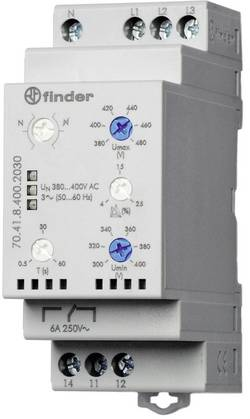 Finder 70.41.8.400.2030 3-phase network monitoring (380 – 415 V/Ac), optional N conductor monitoring, over/undervoltage ra