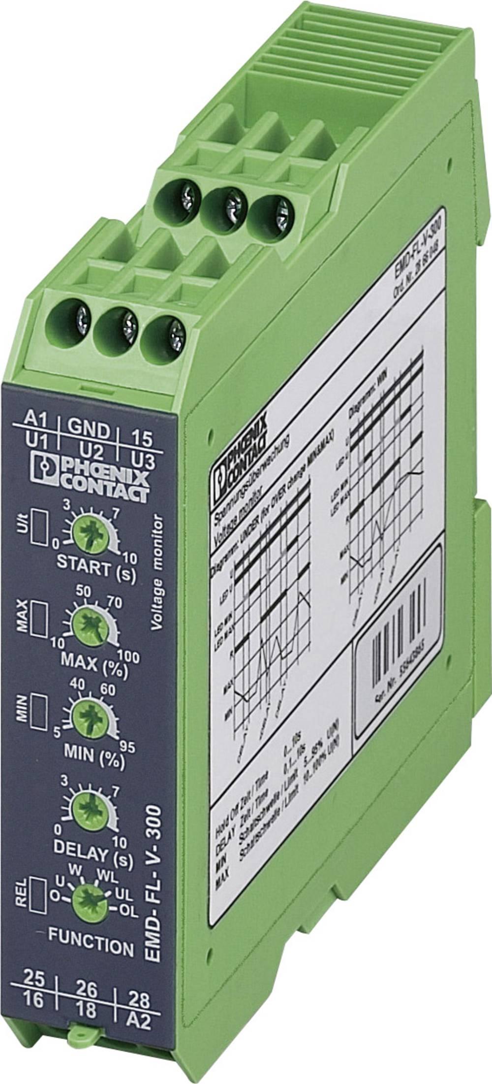 Overvågningsrelæer 2 x omskifter 1 stk Phoenix Contact EMD-FL-V-300 1-fase, Spænding, Overbelastning, Underspænding, Vindue, Fej