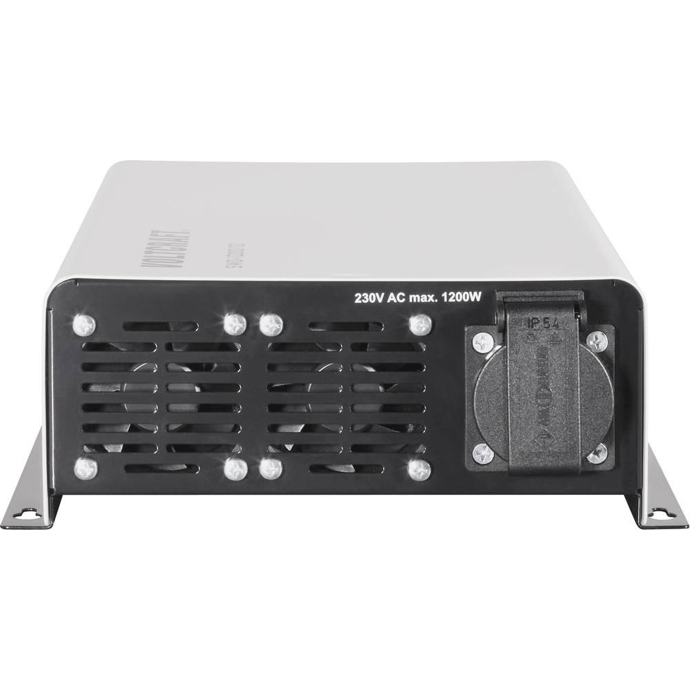 Inverter VOLTCRAFT SWD-1200/24 1200 W 24 V/DC 24 V/DC Kan fjernbetjenes Skrueklemmer Jordstik