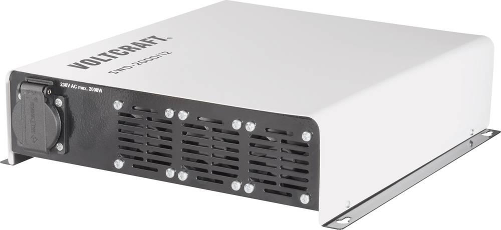 Inverter VOLTCRAFT SWD-2000/12 2000 W 12 V/DC 12 V/DC Kan fjernbetjenes Skrueklemmer Jordstik