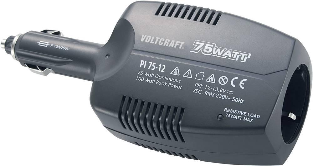 Izmjenjivač VOLTCRAFT PI 75-12 75 W 12 V/DC 12 - 13.8 V/DC utikač za cigaretni upaljač, utičnica sa zaštitom od prenapona