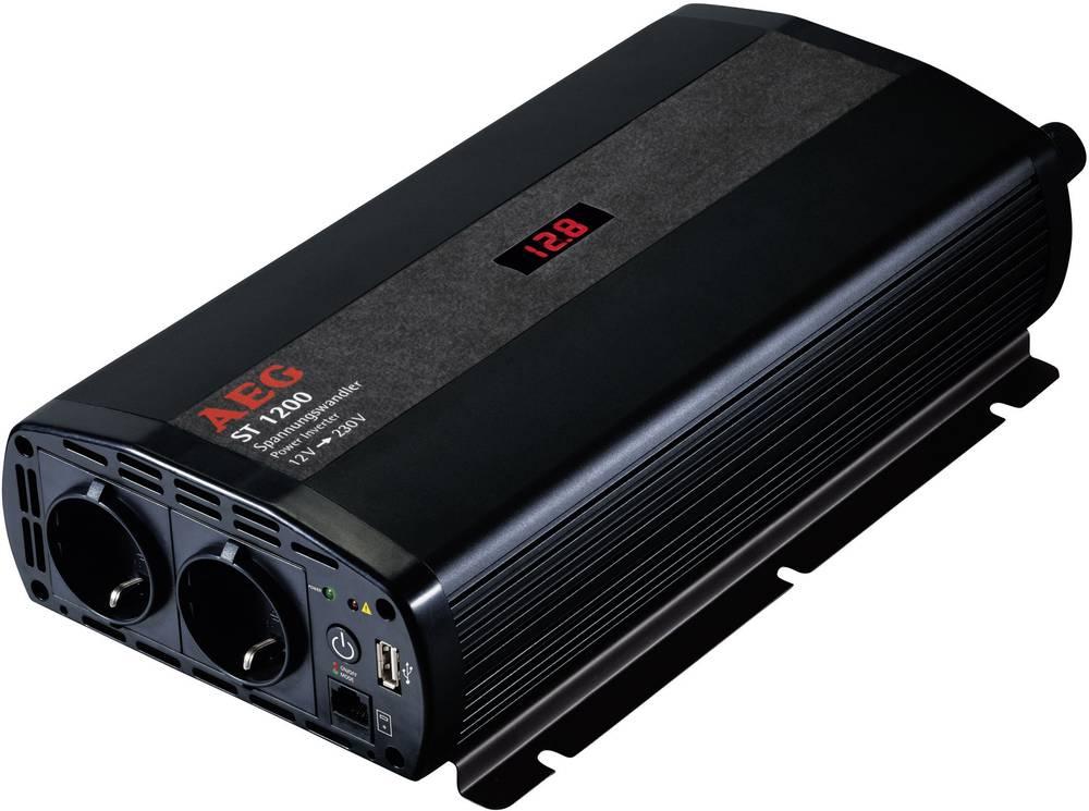 Inverter AEG ST 1200 1200 W 12 V/DC 12 V/DC (10,5 - 12,0 V/DC) inkl. fjernbetjening Skrueklemmer Jordstik, USB-tilslutning