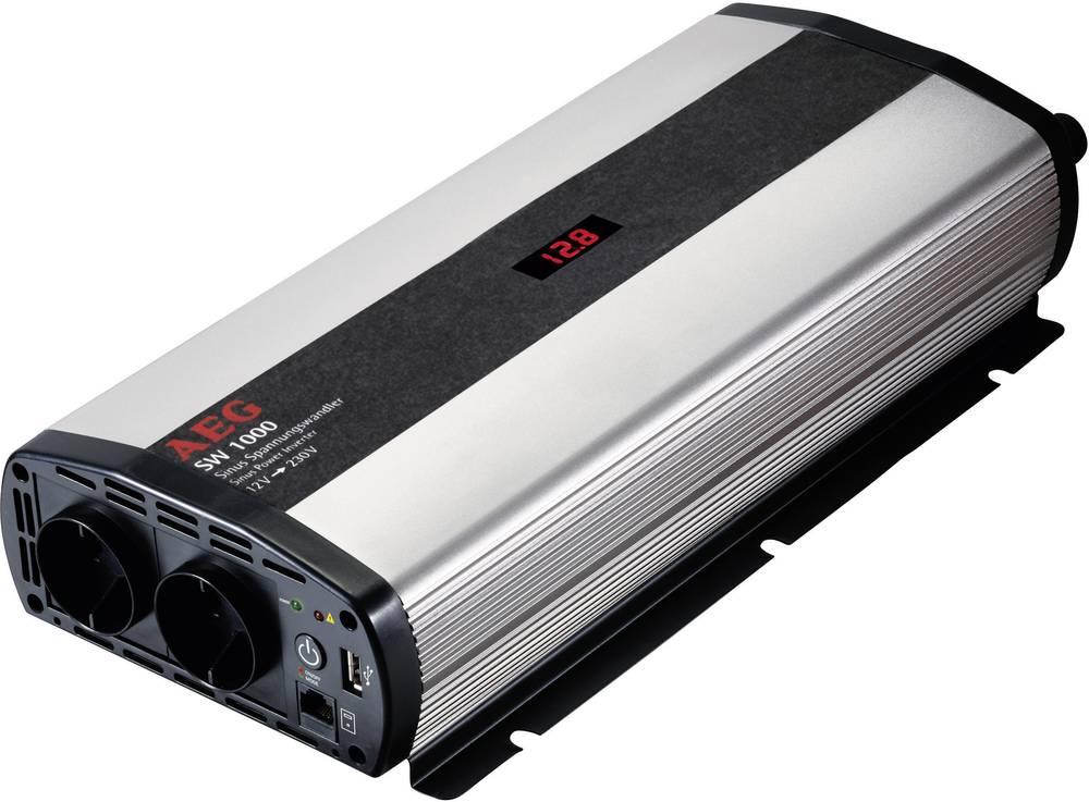 Inverter AEG SW 1000 1000 W 12 V/DC 12 V/DC (10,5 - 12,0 V/DC) inkl. fjernbetjening Skrueklemmer Jordstik, USB-tilslutning