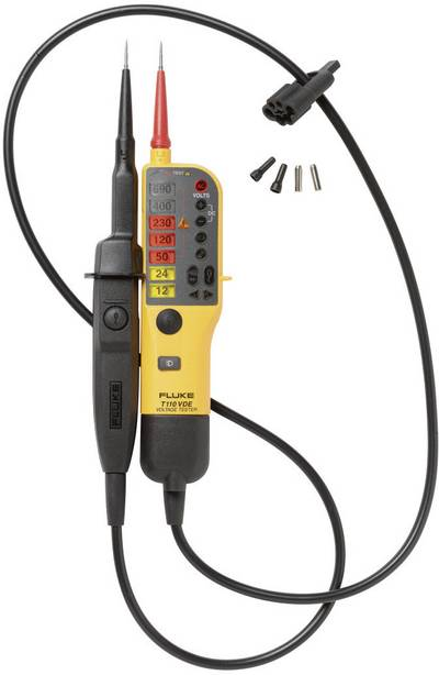 Fluke T110/VDE Two-pole voltage tester CAT III 690 V, CAT IV 600 V LED, Acoustic, Vibration Manufacturer's standards (no