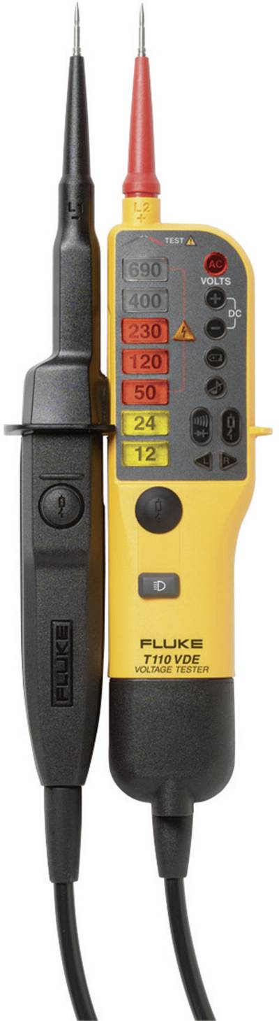 Fluke T110/VDE Two-pole voltage tester CAT III 690 V, CAT IV 600 V LED, Acoustic, Vibration Manufacturer's standards (no