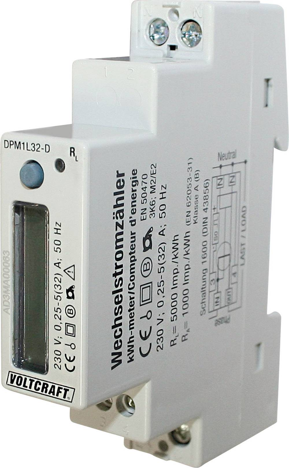 Enofazni števec izmeničnega toka, digitalni 32 A MID-odobritev: ne VOLTCRAFT DPM1L32-D Plus