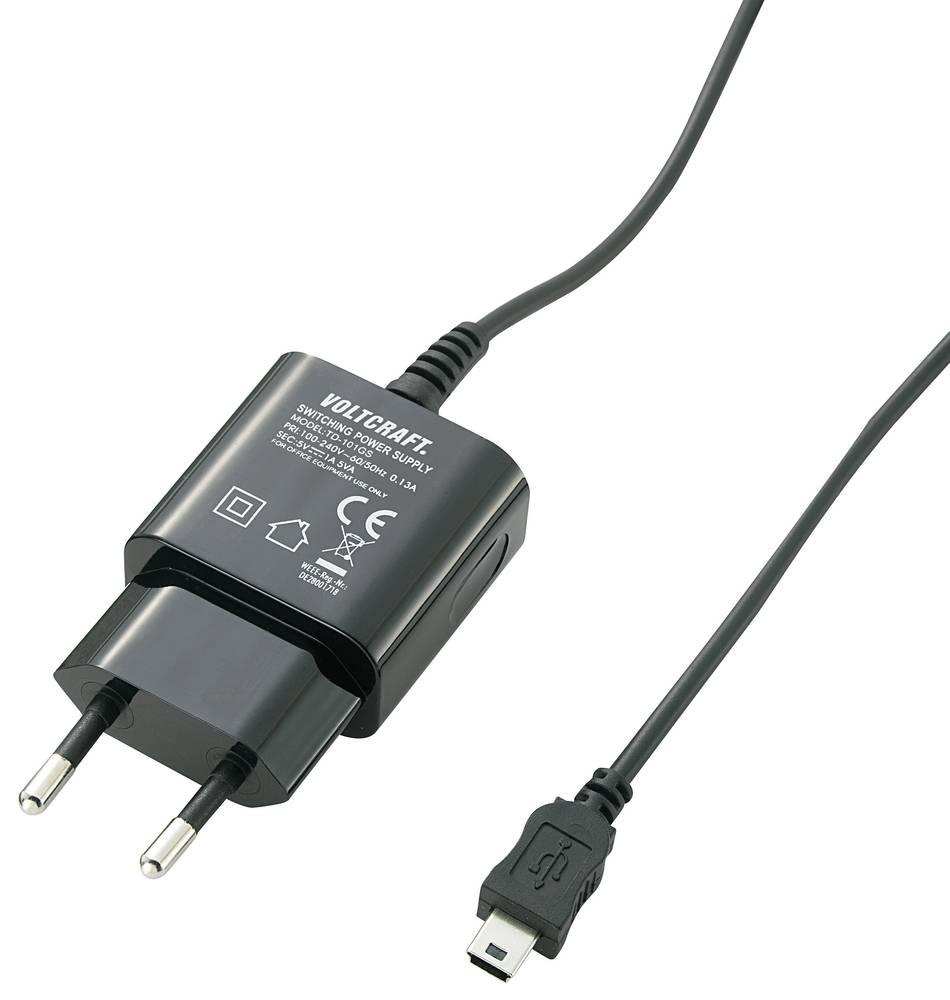 USB-oplader VOLTCRAFT SPS-1000 MiniUSB SPS-1000 MiniUSB Stikdåse Udgangsstrøm max. 1000 mA 1 x Mini-USB