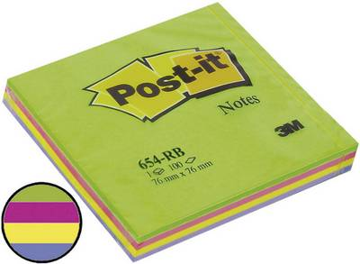 Image of 3M Sticky note 7000080737 76 mm x 76 mm Ultra green, Ultra pink, Ultra yellow, Lavender 100 sheet