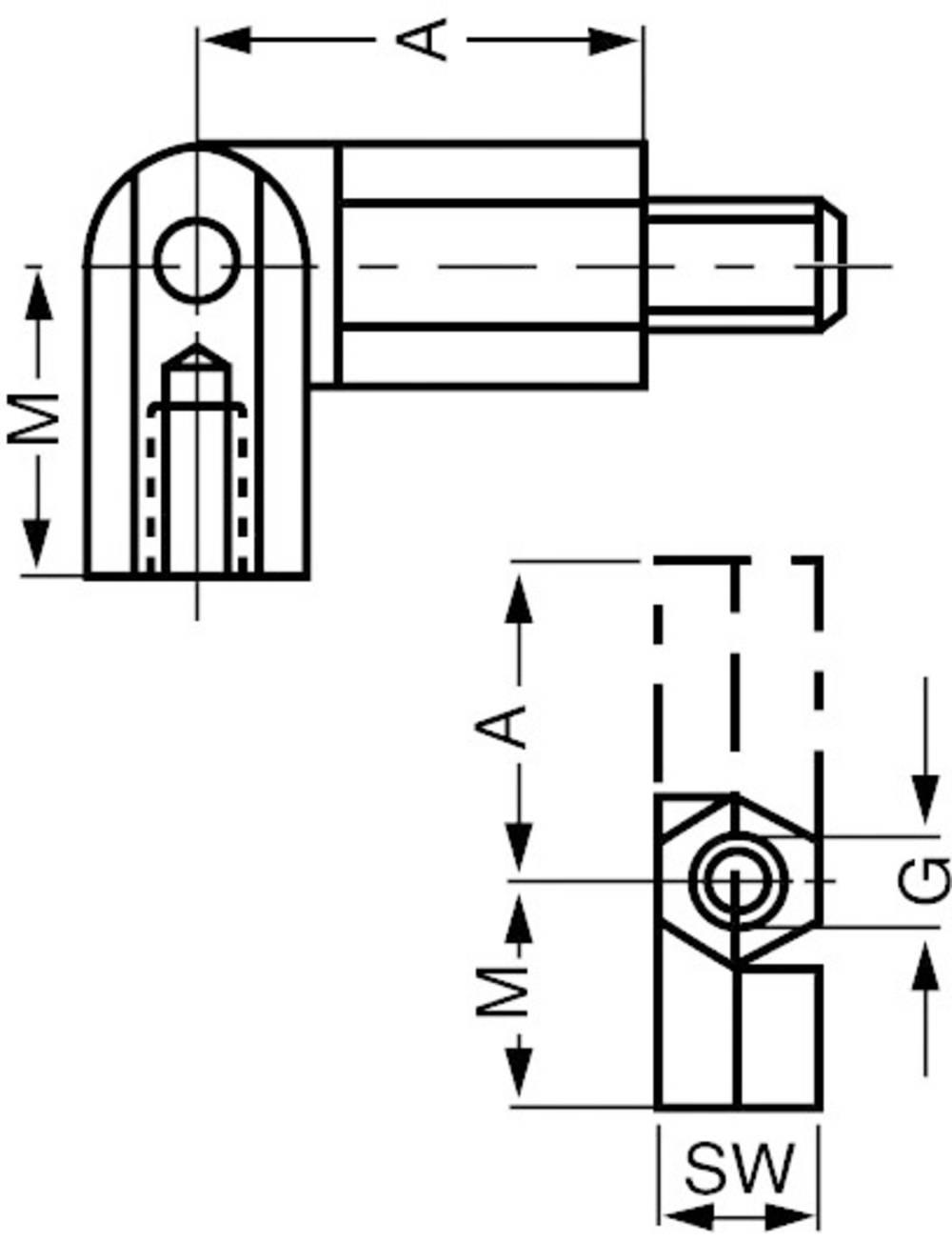 Zgibni sornik, zunanji in notranji navoj M3, medenina, razmik 20 mm TOOLCRAFT 2010/106/6 1 kos