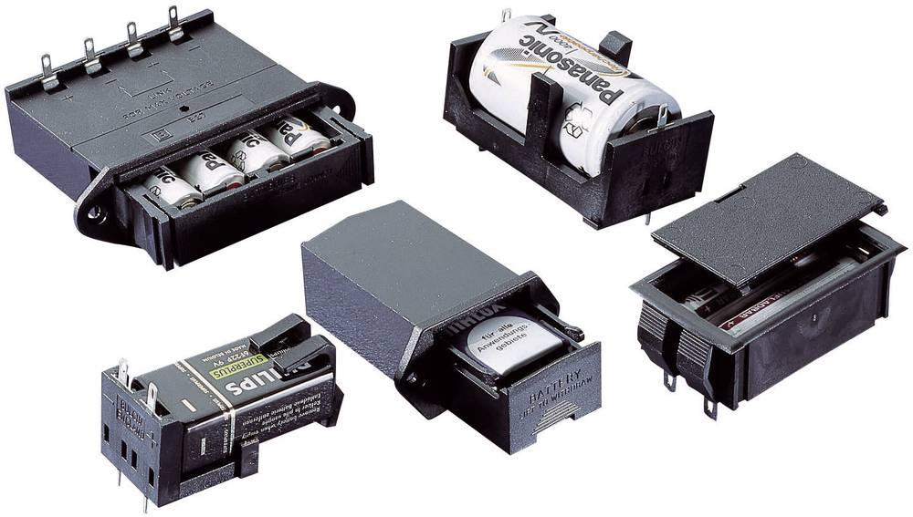Vgradno držalo za baterije, za montažo na tiskana vezja, baterijski predal, (D x Š x V) 58.7 x 25.8 x 26.5 mm